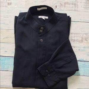 Elliott Banded Collar Long Sleeve Black Size XL